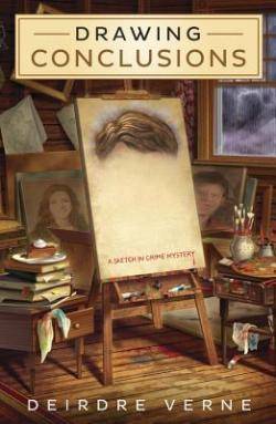 Drawing Conclusions: A Sketch in Crime Mystery by Deirdre Verne book cover - artist's studio with several canvases in the background with paintings, a table with artist supplies on it, a canvas on an easel with only a thick mop of brown hair painted on it, books & a piece of pie on a plate on another table