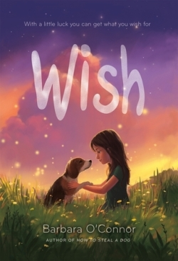 Wish by Barbara O'Connor, Author of How to Steal a Dog - tagline: With a little luck you can get what you wish for. - Sunset background, young girl with long brown hair and short-sleeved green shirt kneeling in the grass with a beagle dog - fireflies flying in the background