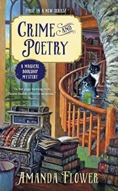 Crime and Poetry: A Magical Bookshop Mystery by Amanda Flower book cover - winding staircase around a tree trunk with cat sitting on the stairs, a front counter with an old-fashioned cash register and books.