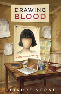 Drawing Blood: A Sketch in Crime Mystery by Deirdre Verne book cover - wooden table with laptop, plates and mugs, books, etc. on it - sketches hanging on wall including sketch of faceless person with short, choppy black hair.
