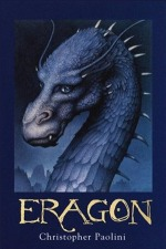 Eragon by Christopher Paolini book cover - Dark blue background with a dark blue dragon in the center of the cover.