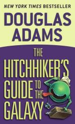 Book Cover: The Hitchhiker's Guide to the Galaxy by Douglas Adams - Yellow & Purple background with a green alien with no eyes, tongue sticking out, wearing a hat and camera and carrying a suitcase.