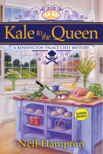 Book Cover - Kale to the Queen: A Kensington Palace Chef Mystery by Nell Hampton - a largish kitchen with windows over looking the grounds and an island full of produce, meats and a butcher's knife.