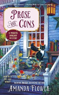 Book Cover: Prose and Cons: A Magical Bookshop Mystery by Agatha Award-Winning Author Amanda Flower - Front porch of a bookshop with books stacked on the floor of the porch and on a bench; Black & White cat with crow sitting next to him and swirling autumn leaves shimmering with magic
