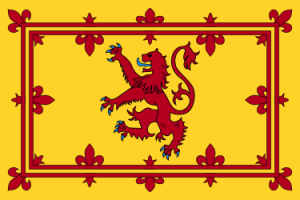 Royal Banner of Scotland: Bright yellow background with red stripes forming two boxes & red fleur-de-lis - Heraldic lion rampant also red in center
