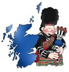 Scottish bagpiper with the outline of Scotland next to him