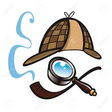 Clip art of Sherlock Holmes hat, pipe & magnifying glass