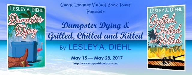 Large Banner: Great Escapes Virtual Book Tours Presents: Dumpster Dying & Grilled, Chilled, and Killed by Leslie A. Diehl - May 15-May 28, 2017 - includes both book covers