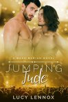 Book Cover: A Made Marian Novel - Jumping Jude by Lucy Lennox - Gold background - top has two shirtless men with beards - one has shoulder length hair, the other is cropped short - the bottom has a stage with cheering fans
