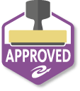 "Frequently auto-approved button - Purple outlined hexagon with a rubber stamp silhouette on top and the word ""approved"" on the bottom"