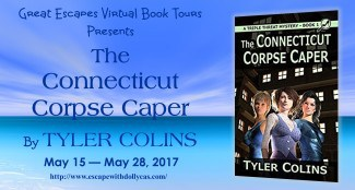 Medium banner - Great Escapes Virtual Book Tours Presents - The Connecticut Corpse Caper by Tyler Colins - May 15-May 28, 2017 - includes book cover