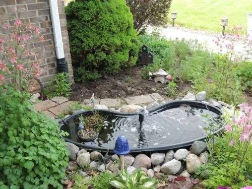 Small pond with waterlily pads, fountain, two other plants in it - surrounded by rocks, columbine, and ceramic items including a fairy door.
