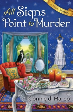 Book Cover: All Signs Point to Murder - a Zodiac Mystery by Connie Di Marco - Study setting with a window overlooking a garden set up for a wedding - foreground has a white table full of candles, astrological charts and a bridal bouquet