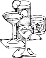 Clipart of four bar drinks - Martini, Margharita, liquor, and mixed drink