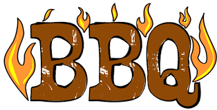 BBQ Graphic - Letters are brown with little flames around them