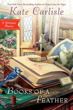 Book Cover: Books of a Feather: A Bibliophile Mystery by Kate Carlisle - Background shows a door open to a garden with a cat chasing a butterfly - Foreground shows a John James Audubon book with an ornate knife on it, a blue jay sitting on a pair of needle-nose pliers, and a cutting mat with an exacto knife and thread.
