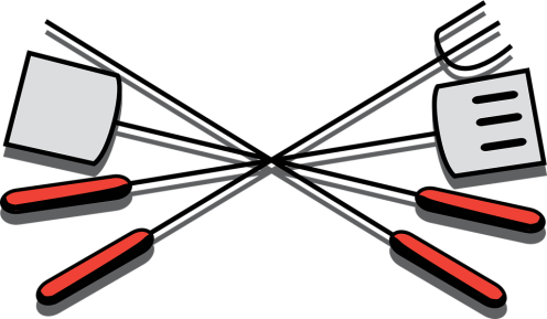 Graphic of silver and red grill utensils - spatulas and skewers
