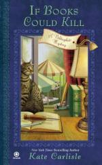 Book Cover: If Books Could Kill - A Bibliophile Mystery by Kate Carlisle - In the background there is an open window beyond which tents with tables set up can be seen. In the foreground is a desk with an open book and lamp sitting on it - on top of the book are an exacto knife and an awl. On the windowsill sits a cat and a bloody hammer