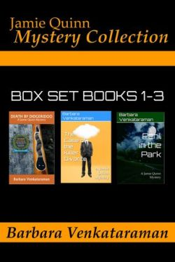 Book Box Set Cover - Jamie Quinn Mystery Collection, Box set Books 1-3: Death by Didgeridoo; The Case of the Killer Divorce; Peril in the Park; all written by Barbara Venkataraman - background is black with the three book covers and orange writing.
