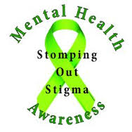 "Lime green ribbon with the text ""Mental Health Awareness: Stomping Out Stigma"""