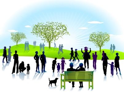 Park scene with people walking dogs, sitting on benches, walking with children or as couples.