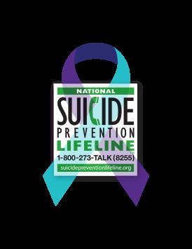 Purple & Teal ribbon - National Suicide Prevention lifeline - 1-800-273-TALK (8255)