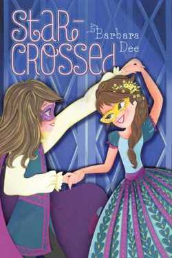 Book Cover: Star-Crossed by Barbara Dee - purple background - two girls, one dressed as Romeo and the other as Juliet, dancing in the foreground