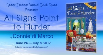 Medium banner: Great Escapes Virtual Book Tours Presents All Signs Point to Murder by Connie di Marco - June 24-July 8, 2017 - banner includes the book cover.