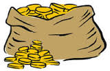 brown bag with gold coins spilling out from the top and in a pile on the floor next to the bag.