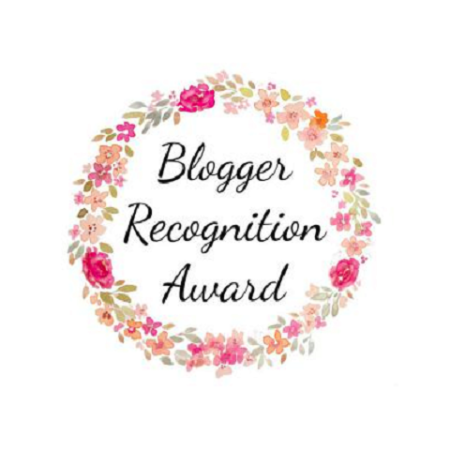 Blogger Recognition Award Large - Words in cursive font surrounded by pink, peach, and magenta flowers