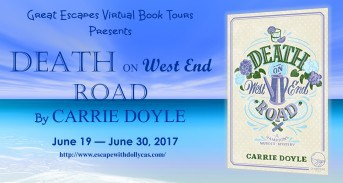 Medium Banner - Great Escapes Virtual Book Tours Presents Death on West End Road by Carrie Doyle - June 19-June 30, 2017 - banner includes a picture of the cover of the book.