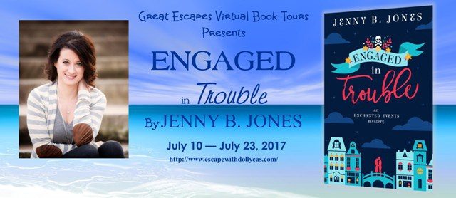 Large Banner: Great Escapes Virtual Book Tours Presents: Engaged in Trouble by Jenny B. Jones - July 10-July 23, 2017 - includes a photo of the author and the book cover