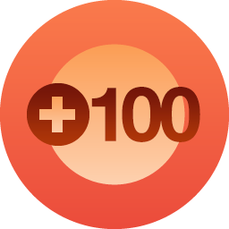 "Dark red-orange circle with light orange in center - Burnt Orange ""+100"" written across it"