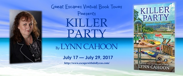 Large Banner: Great Escapes Virtual Book Tours Presents: Killer Party by Lynn Cahoon - July 17-July 29, 2017 - Includes the author's photo and book cover