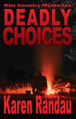 Book Cover: Deadly Choices: Rim Country Mysteries by Karen Randau - the background is a night scene with someone burning something out in the countryside. You can see the glow of the fire and the person silhouetted by the light, but not what is being burned.